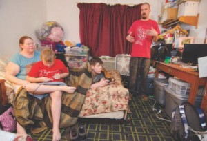 The Wright family, which includes Shawn and Sarah, along with sons Austin, 11, and Noah, 10, have been living at the Days Inn in Leominster since September.SENTINEL & ENTERPRISE / Ashley Green