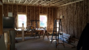 Interior construction- youth hall area.