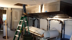 Interior duct work, kitchen area